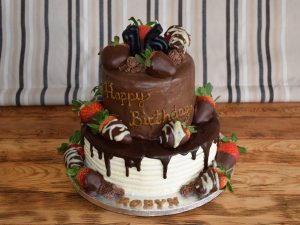 Two Tier Chocolate Strawberry Cake