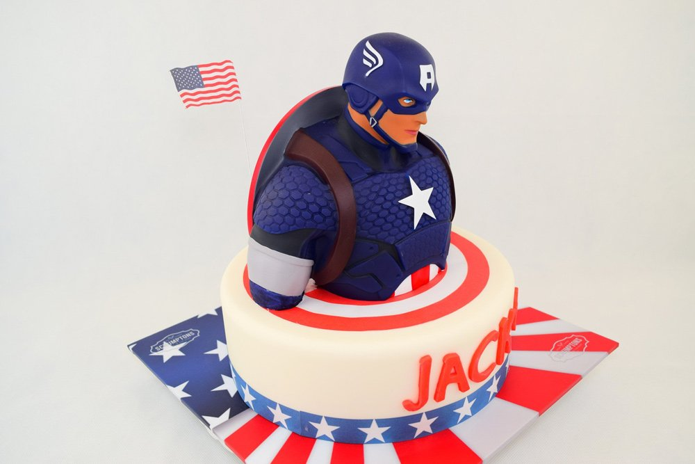 Captain America Birthday Cake With Name